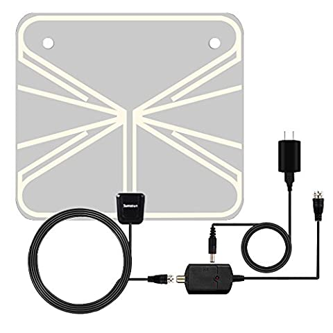 TV Antenna, Sumasun Indoor HDTV Antenna for Digital TV 50 Miles with Detachable Amplifier Signal Booster, USB Power Supply and 16.5FT Coaxial Cable, Ultra Thin and (Uhf To Hdmi Adaptors)