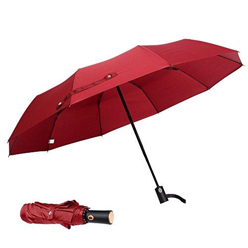 Large Windproof Compact Travel Rain Sun Umbrella Auto Open Close for Men Women 10Ribs 50'' Red by J&B Umbrellas
