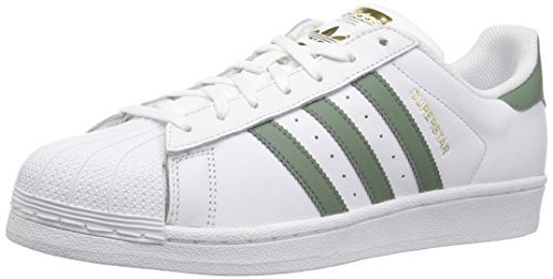 adidas Originals Men's Superstar Foundation Casual Sneaker, White/Trace Green/Gold Metallic, 9 D(M) US