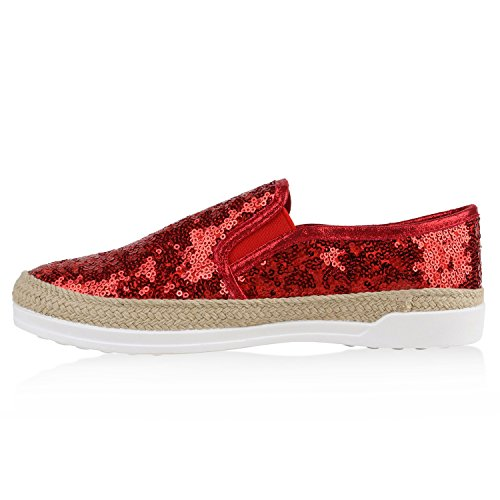 Stiefelparadies Damen Bast Sneakers Lack Slipper Bequeme Slip-Ons Helle Sohle Flandell Rot Pailletten