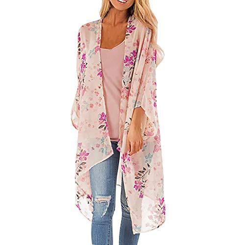 - Women's Sheer Chiffon Blouse Loose Tops Kimono Floral Print Cardigan Pink