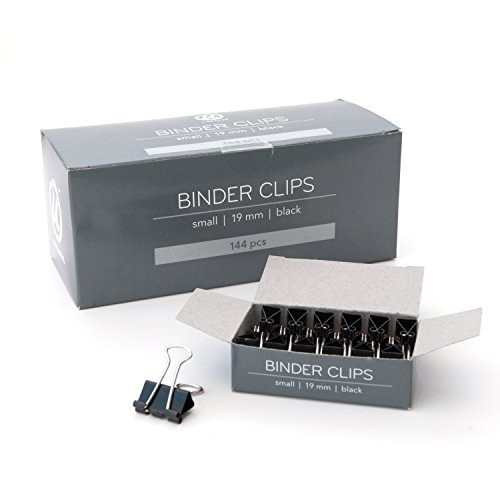 U Brands Binder Clips, Small 3/4-Inch Width, 1/3-Inch Paper Holding Capacity, Black and Silver Steel, 144-Count by U Brands (Image #1)