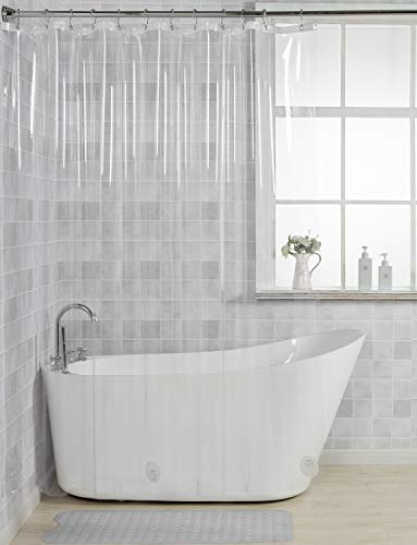 (AmazerBath 12 Gauge Heavy Duty Crystal Clear Thick Shower Curtain Liner with Heavy Duty Clear Stones and 12 Rust-Resistant Grommet Holes Waterproof Bathroom Plastic Shower Curtain Liner- 72