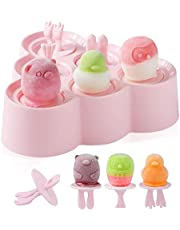 OneCut Silicone Popsicle Mold,[Cavity of 6]Cute Cartoon Animal Shape Ice Lolly Moulds,Family DIY Popsicle Molds or Healthy Snacks, Yogurt Sticks & Ice Candy Pops (Pink)