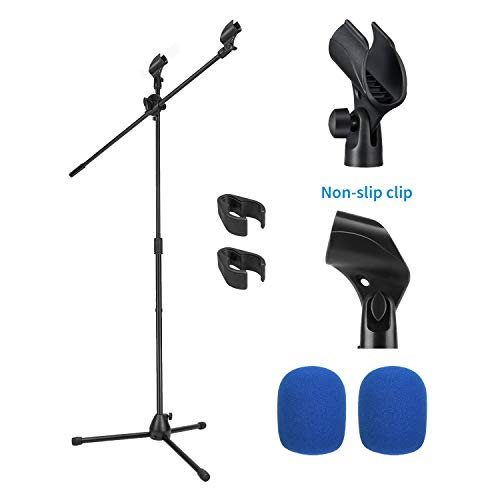 Moukey MMs-3 Mic Stand, Tripod Boom Microphone Stands with 2 Non-Slip Mic Clip,2 Foam cover, Adjustable, Collapsible, For shure sm7b / sm58 (Black)