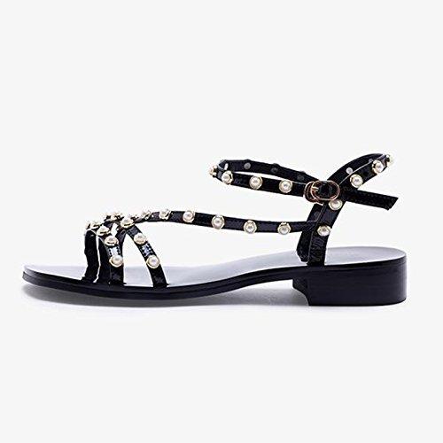 Talones Tamaño Zapatos Pearl Lady Romanas Square Bajos Summer Color Negro JIANXIN Head 38 Sandalias De Mujer Gruesos Negro wzqZB0EC