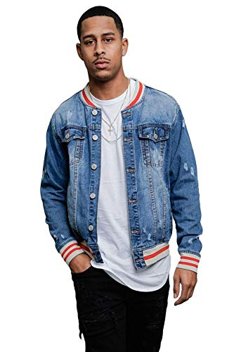 Victorious Striped Collar Cuff Hem Button Up Distressed Denim Jacket DK145 - Indigo - Large - I13B