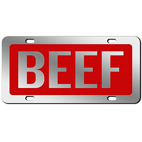JASS GRAPHIX Red Beef License Plate Mirror Acrylic Car Tag - Available in Several Colors. Perfect for Cattle Farmers
