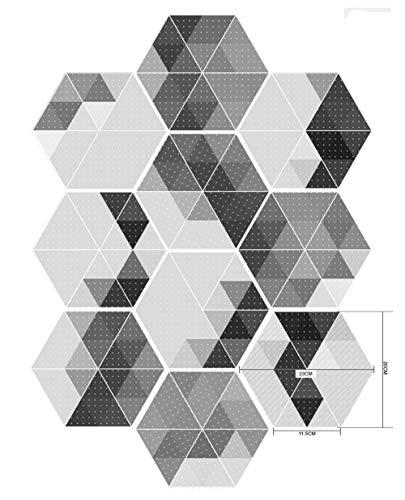 - 20pcs Tile Floor Sticker Black and Gray Non-Slip Kitchen Bathroom backsplash Wall Sticker Hexagon Decals Mural Home Decor, Peel and Stick