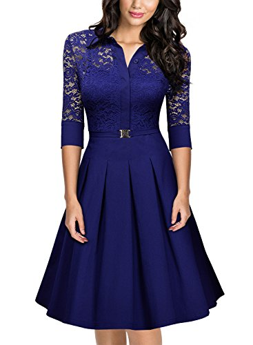 Missmay Women's Vintage 1950s Style 3/4 Sleeve Lace Flare A-line Dress (Medium,Bright Blue)