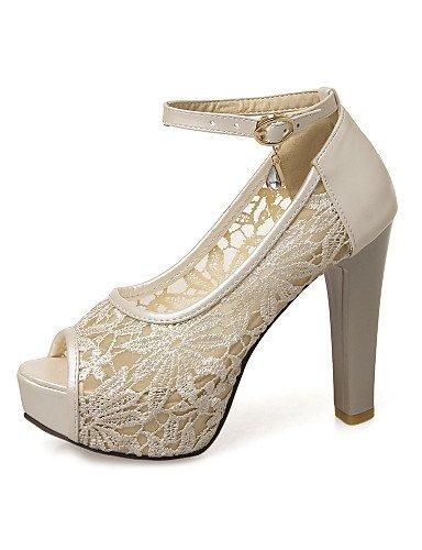 ShangYi Schuh Damen - Hochzeitsschuhe - Absätze / Zehenfrei / Plateau / Komfort / Neuheit / Rundeschuh / Vorne offener Schuh - Sandalen -Hochzeit / , 2in-2 3/4in-beige