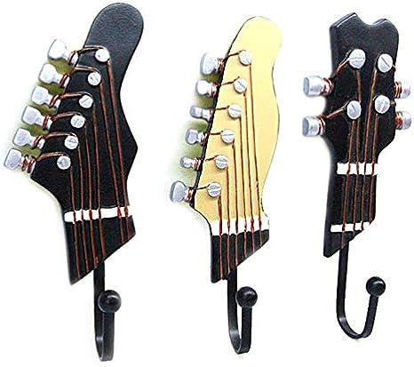 CVG Juego de 3 Ganchos Decorativos de Pared Ganchos de Hierro, Ganchos en Forma de Guitarra Shabby Chic X4YD