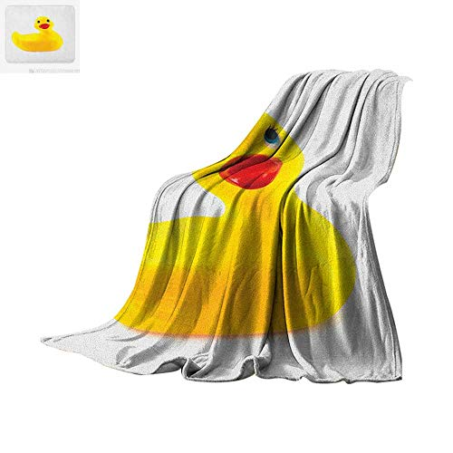 "Rubber Duck Lightweight Blanket Yellow Squeak Ducky Toy Fun Bubble Bath Animal Kids Room Duckling Print Velvet Plush Throw Blanket 90""x70"" White and Yellow"