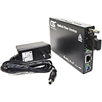 FRM220-E1-T1-ST015 - single E1 and T1 to single-mode fiber extender (media converter), 15Km range, 1310nm, ST connectors, standalone unit with AC adapter, optional web and console based management support