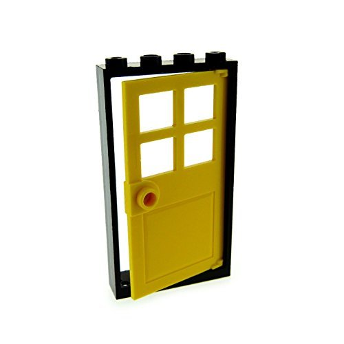 LEGO City Town Black Door Frame 1 x 4 x 6 and Yellow Door 1 x 4 x 6 with 4 Panes and Stud Handle - Loose (Grau Ferrari)