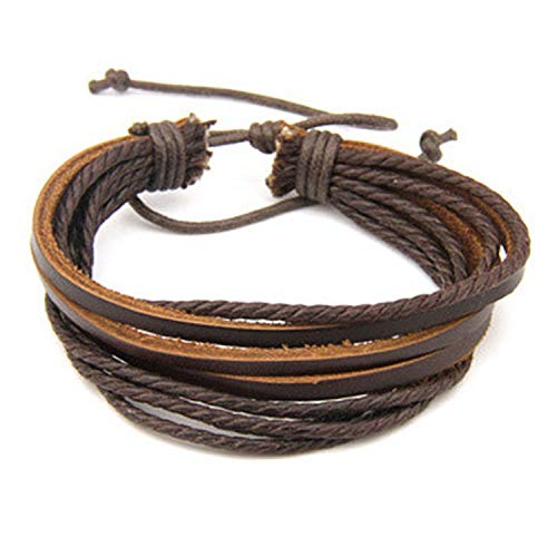 DLNCTD Male Fashion Mens Bracelets Five Wax Ropes Handmade Leather Brown Color Bracelet Drop Shipping,Brown