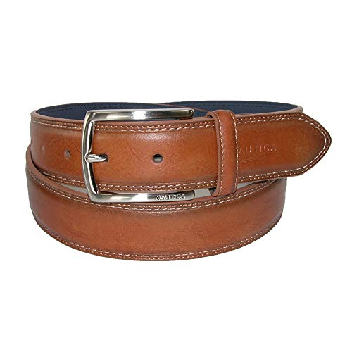 Nautica Men's Belt with Dress Buckle and Stitch Comfort,Cognac,44 - Bonded Collection Leather