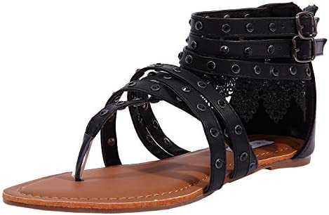 SheSole Womens Fashion Flat Gladiator Sandals Shoes Thong Strappy Buckle Back Zip