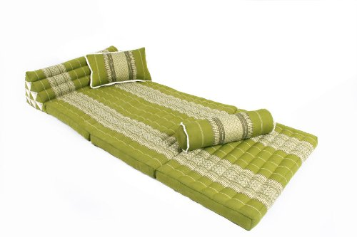 Lavish Time Set: Cushions and Pillows in Thai Traditional Design Bamboogreen, 3 Pieces from Handelsturm
