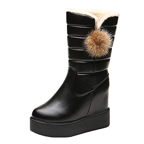 HYIRI Increase Bottom Muffin Boots, Winter Ladies Velvet Warm Mid-Boots Round Head Boot
