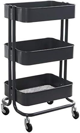 walsport 3-Tier Grey Rolling Cart Metal Mash Storage Organize Utility Cart