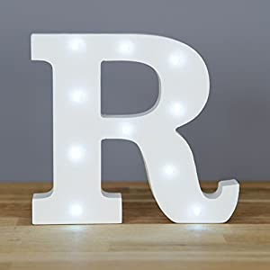 Up In Lights Decorative Led Alphabet White Wooden Letters