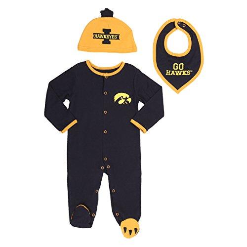Iowa Hawkeyes Baby Boys' 3 pack, Footie, Bandana Bib and Hat Set 0-3 months