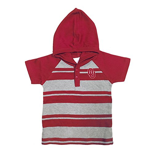Rugby Sooners Oklahoma - Two Feet Ahead NCAA Oklahoma Sooners Toddler Boys Rugby Short Sleeve Hooded Shirt, Size 4, Crimson/Heather