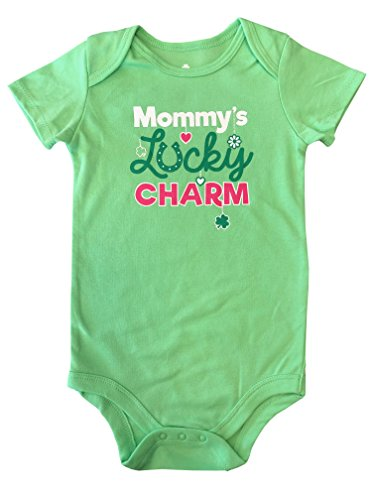 Topsville, Inc. Assorted ST Patrick's Day Short Sleeve Baby Bodysuits/Creepers (24 Months, Mommy's Lucky Charm (Light Green))
