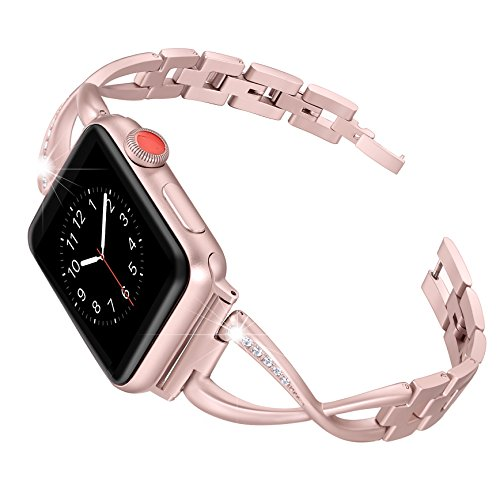 Secbolt Stainless Steel Band Compatible Apple Watch Band 38mm Women Iwatch Series 3, Series 2 1 Accessories Metal Wristband X-Link Sport Strap, Rose Gold by Secbolt
