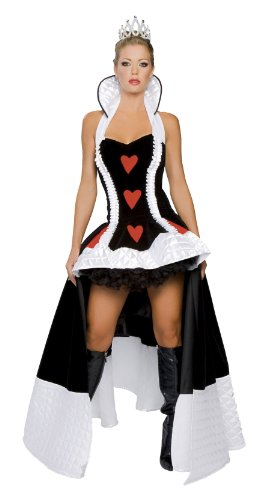 Roma Costume 3 Piece Enchanting Queen Of Hearts, Black/White/Red, Medium/Large