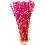 100 Canudo De Papel Biodegradável Rosa Bolinha Atacado