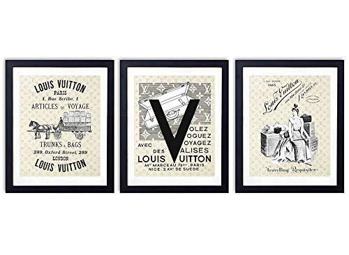(Louis Vuitton Vintage Luggage Wall Art Prints - Set of Three (8x10) Unframed Photos - Makes a Great Gift for Fashion Lovers and Home Decor)