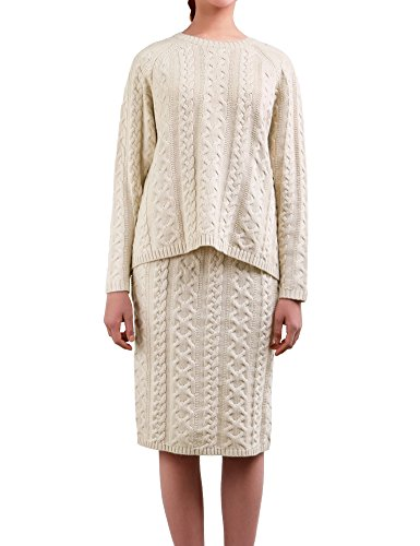 (DELUXSEY Cable Knit Sweater & Midi Skirt - Winter Sweaters for Women (Beige,)