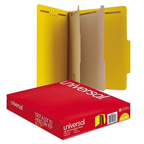 Universal Pressboard Classification Folders, Letter, Six-Section, Yellow, 10/Box (Section Top Tab Classification Folders)