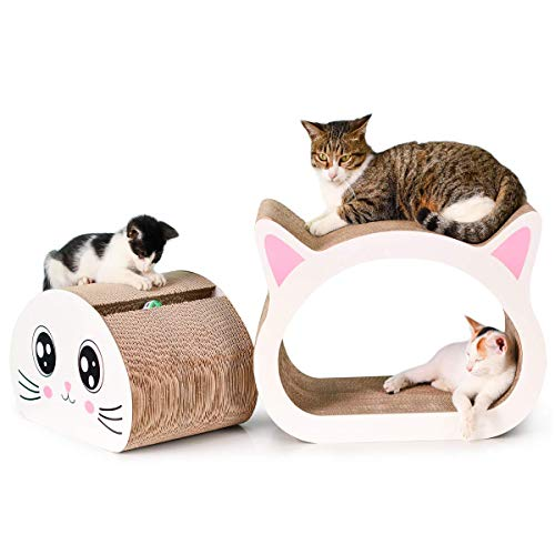 Happypapa Cat Scratcher Lounge 2 in 1 Cat Scratcher Cardboard Cat Scratching House Sofa Toy - Keep Cats Fun Healthy ()