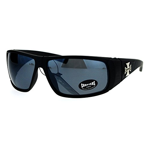 Choppers Sunglasses Mens Biker Wrap Shield Frame Spider Webs Matte Black, - Choppers Sunglasses