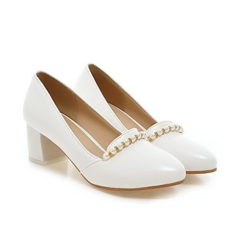 AllhqFashion Womens Pull On PU Round Closed Toe Kitten Heels Solid Pumps-Shoes White adzk9
