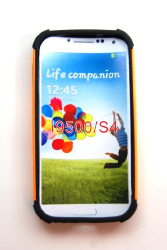 TCD for Samsung Galaxy S4 9500 [ORANGE] Executive Armor Defender Series [HIGH IMPACT] Multi Layer [Hard/Soft Combo] TPU & Hard Plastic Shock Absorbant Case with [FREE SCREEN PROTECTOR & STYLUS PEN]