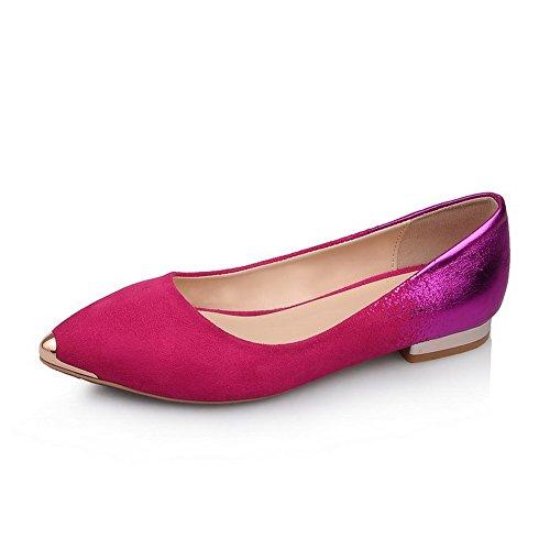 AllhqFashion Mujer Gamuza Tacón Bajo Esmerilado Slip-on Puntera de Acero ZapatosdeTacón Rosado