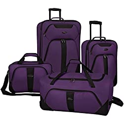 US Traveler Oakton 4-Piece Luggage Set,Purple,US