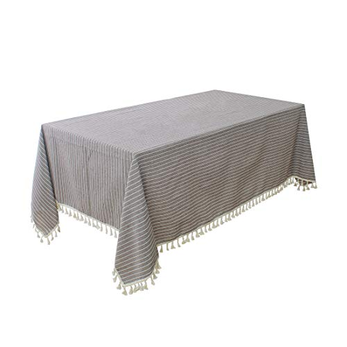 """uxcell Washable Water Oil Stain Resistant Cotton Blends Rectangular Tablecloth w Tassels, 55"""" x 71"""", Rectangular Table Decoration, Coffee Color Strips from uxcell"""