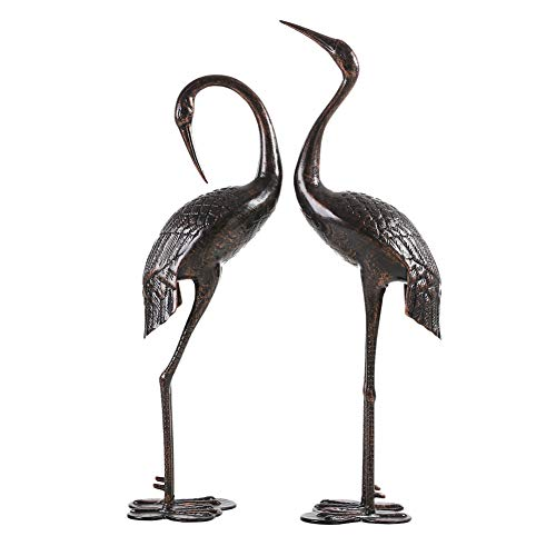 Bronze Garden Crane - HOMEFUN Outdoor Crane Cast-Aluminum, Garden Decor Cranes Set of 2 - Antique Bronze