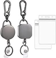 """2 Pack Retractable Badge Holder Reel, Durable Metal ID Badge Holder, Heavy Duty Retractable Keychain with Belt Clip, 27""""..."""