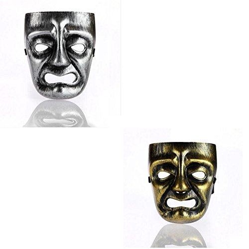 [Dongcrystal Golden/Silver Halloween Ancient Greece Bacchus Mask Mardi Gras Prom Cosplay Masks,2Pcs] (Classic Jason Costume)