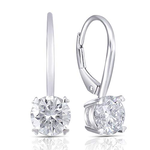 (DovEggs Solid 14K White Gold 2ct 6.5mm G-H-I Color Clear Heart Arrows Cut Moissanite Leverback Hoop Earring for Women)