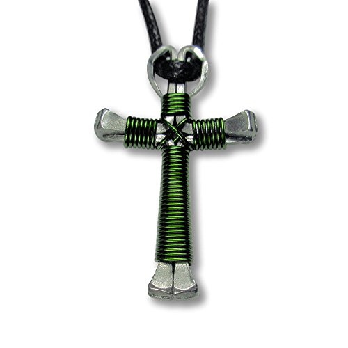- Horseshoe Nail Cross Necklaces -(Solid Color) You Pick Colors! (Camo Green)