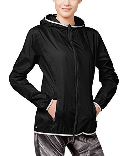 Ladies Nylon Jacket (Ideology Women's Packable Wind Jacket (Noir, Large/X-Large))