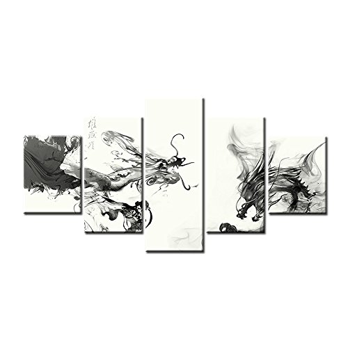 Jingtao Art Black and White China Ink Painting Dragon Oil Painting Print on Canvas for Living Room Home Decor Gift Modular Poster