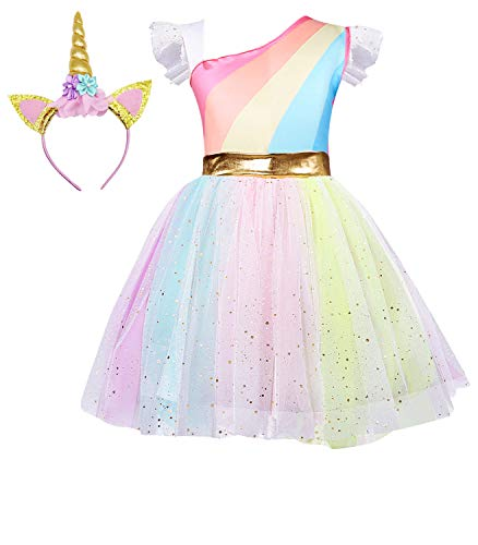 Cotrio Girls Rainbow Unicorn Dress up Toddler Birthday Theme Party Dresses Sequins Ruffle Tulle Skirt Halloween Costume with Headband (Size 10, 140, 9-10Years)]()